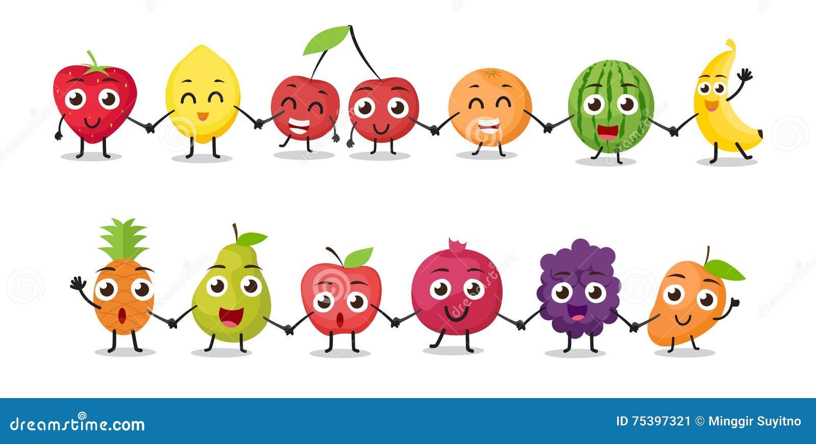 Cartoon Characters Holding Hands : Cartoon fruits characters stock vector image of juicy