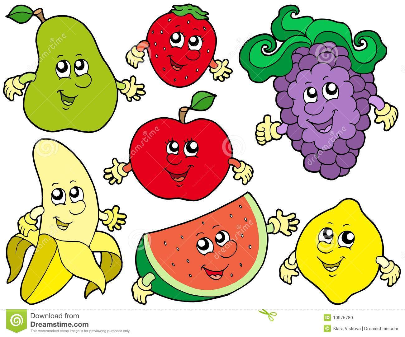 Cartoon Fruits Collection 2 Stock Photo Image 10975780