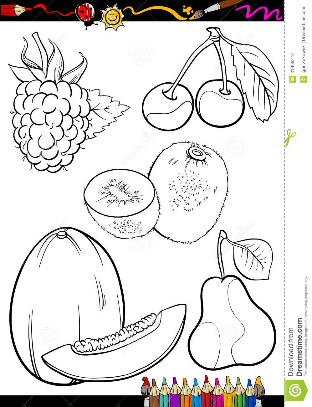 Cartoon Fruits Set For Coloring Book Royalty Free Stock