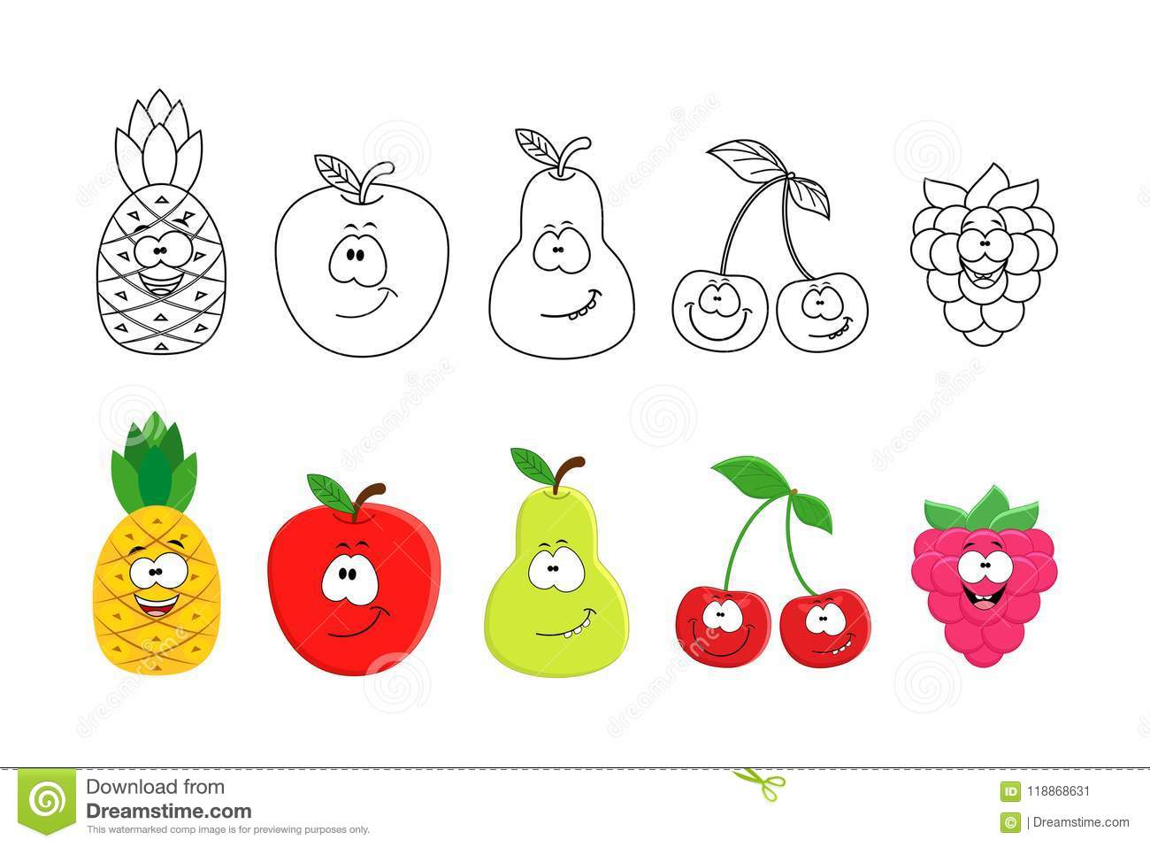 - Cartoon Fruits Set. Coloring Book Pages For Kids. Pineapple, App
