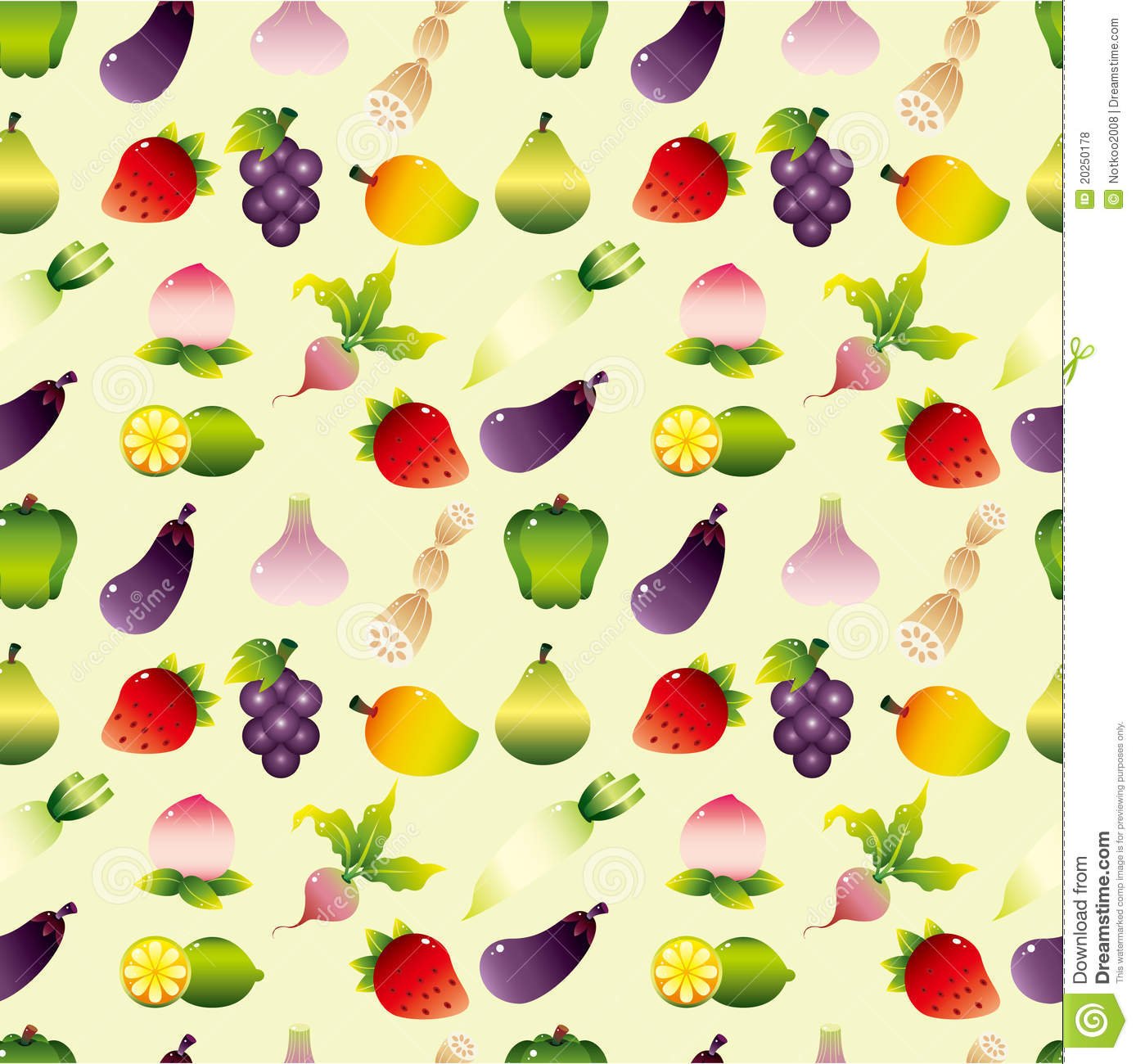 Cartoon Fruits And Vegetable Seamless Pattern Stock Vector