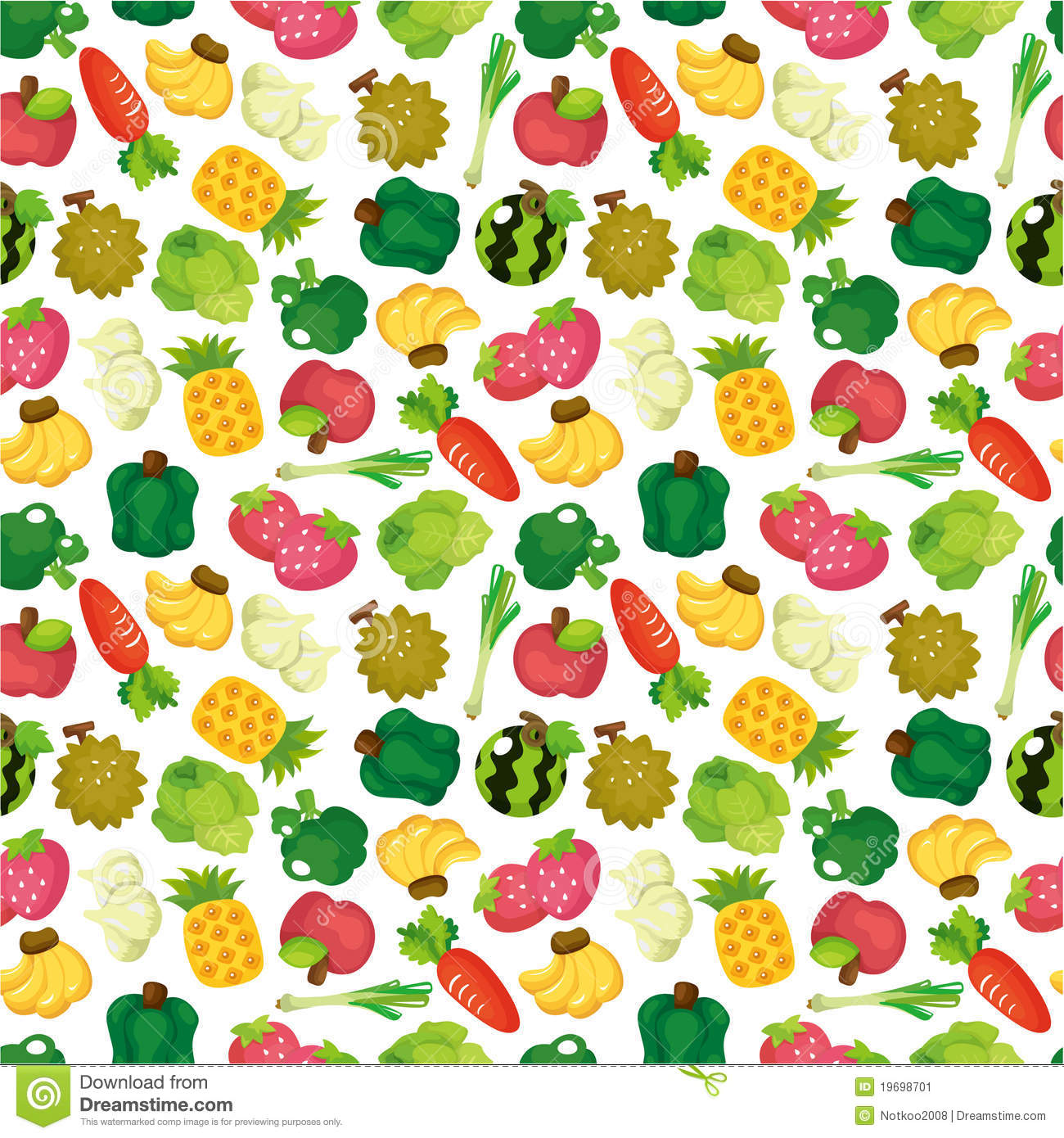 Cartoon Fruits And Vegetables Seamless Pattern Stock Vector