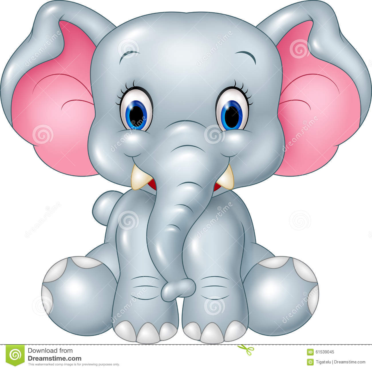 Cartoon Funny Baby Elephant Sitting Isolated On White Background Stock ...