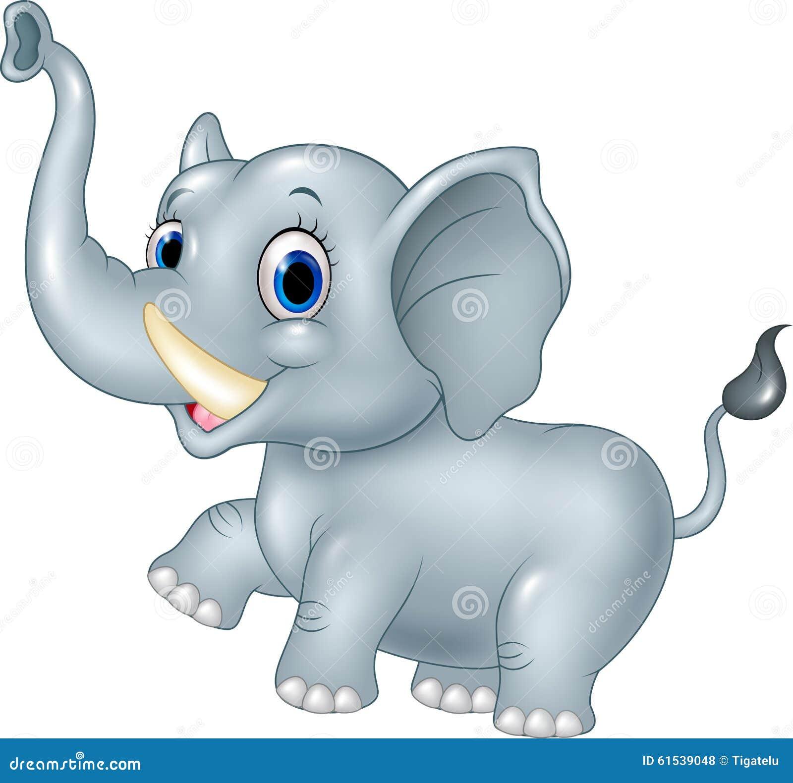 Cartoon Funny Baby Elephant On White Background Stock