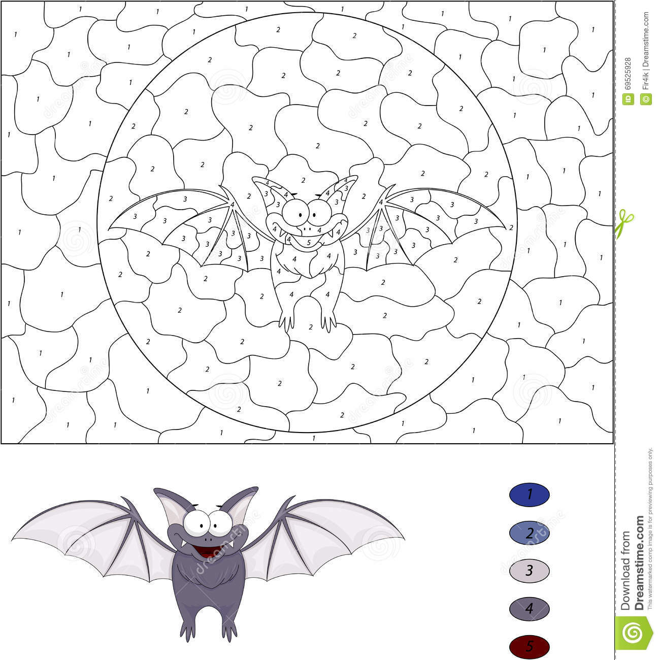 cartoon funny bat color by number educational game for kids stock