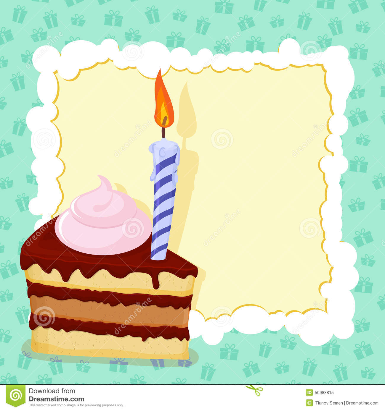 Cartoon Funny Birthday Cake Card. Vector Illustration ...
