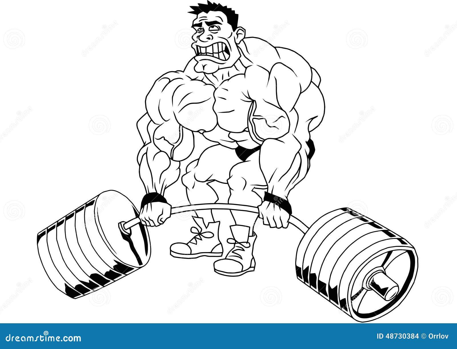 Cartoon funny bodybuilder stock vector. Illustration of