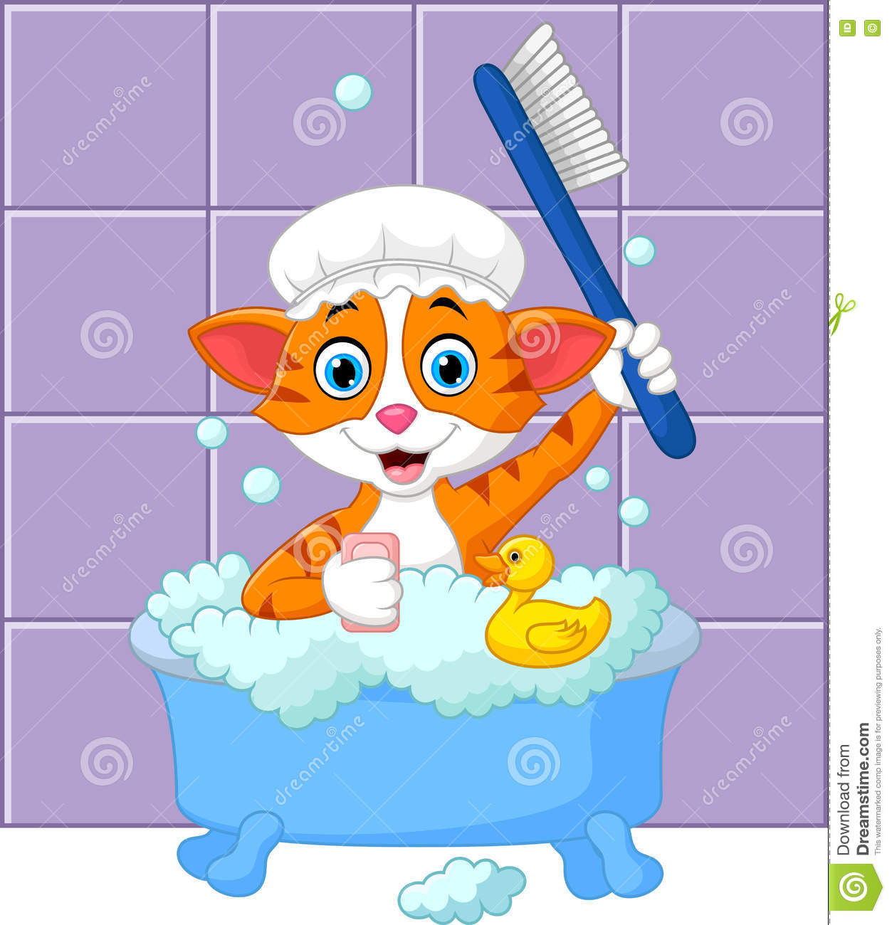 Cartoon funny cat bathing time