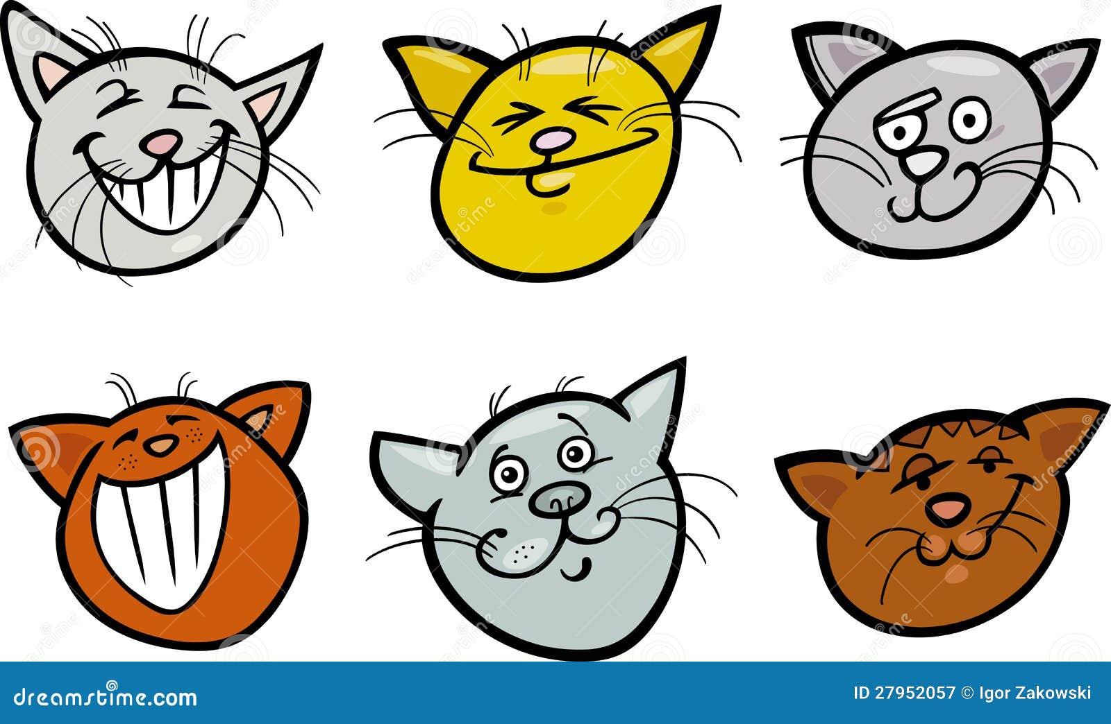 Cartoon Funny Cats Heads Set Royalty Free Stock ... Tabby Cat Cartoon Drawing
