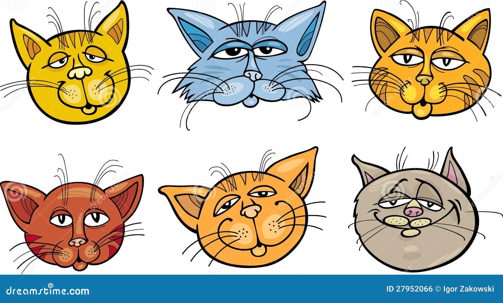 Cartoon Funny Cats Heads Set Stock Vector Illustration Of