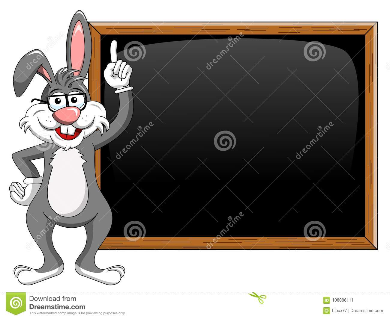 Cartoon funny character or mascot rabbit or bunny with glasses t