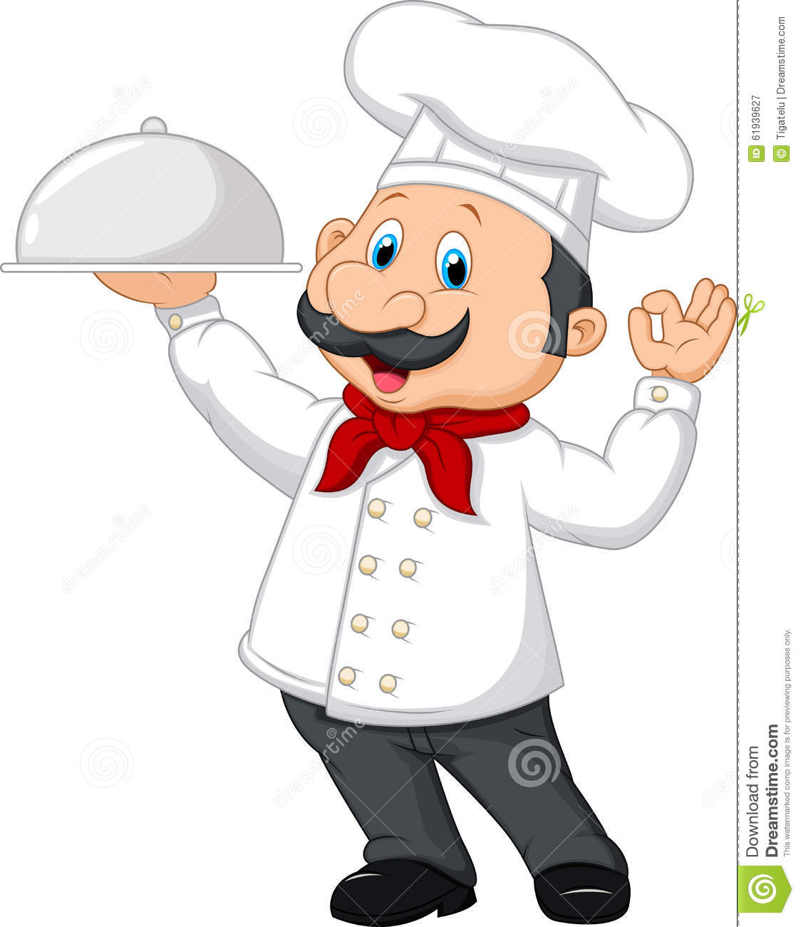Cartoon Funny Chef With A Moustache Holding A Silver