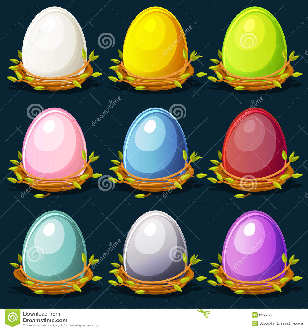 Cartoon funny colored birds Eggs in nest of twigs
