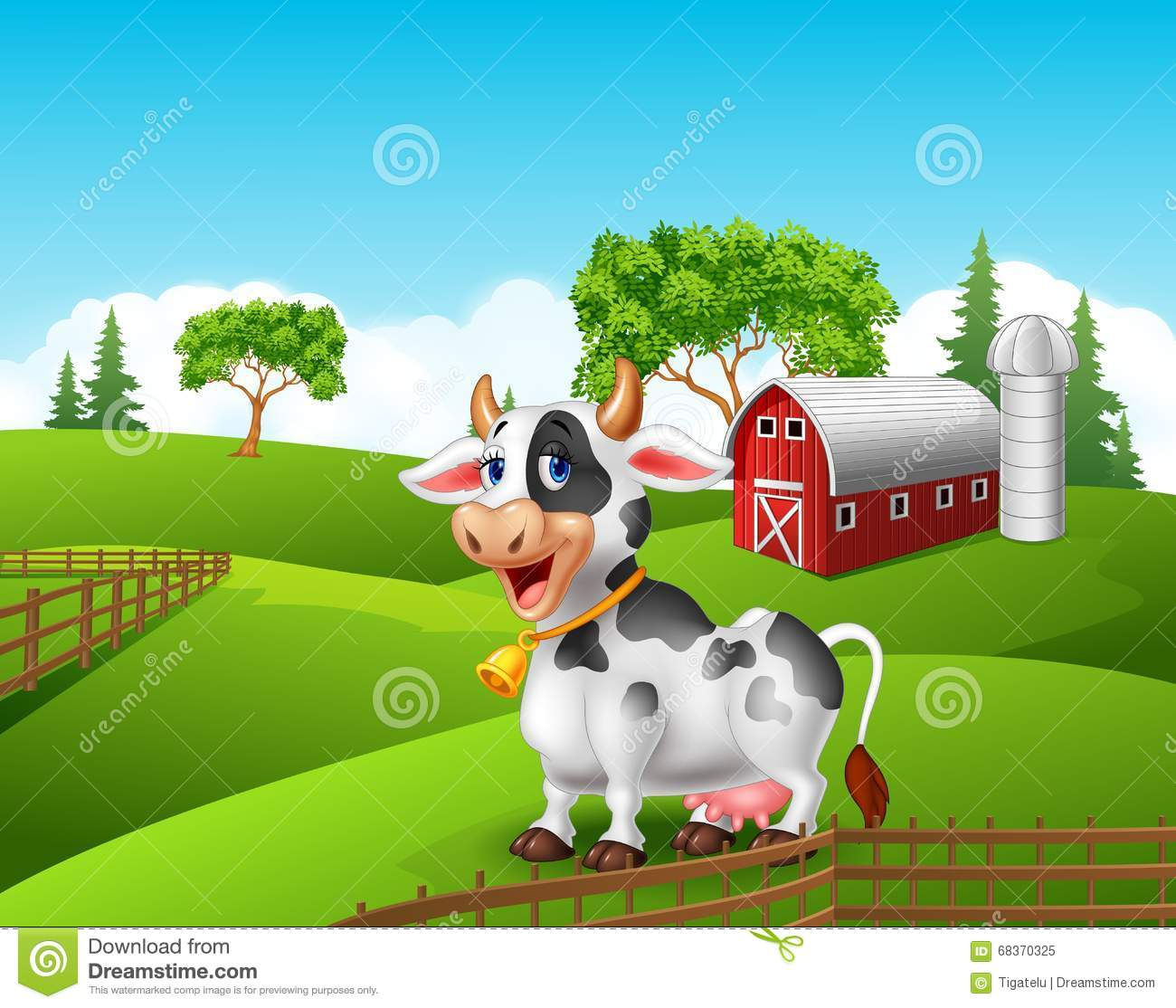 Cartoon Funny Cow In The Farm Landscape Background Stock