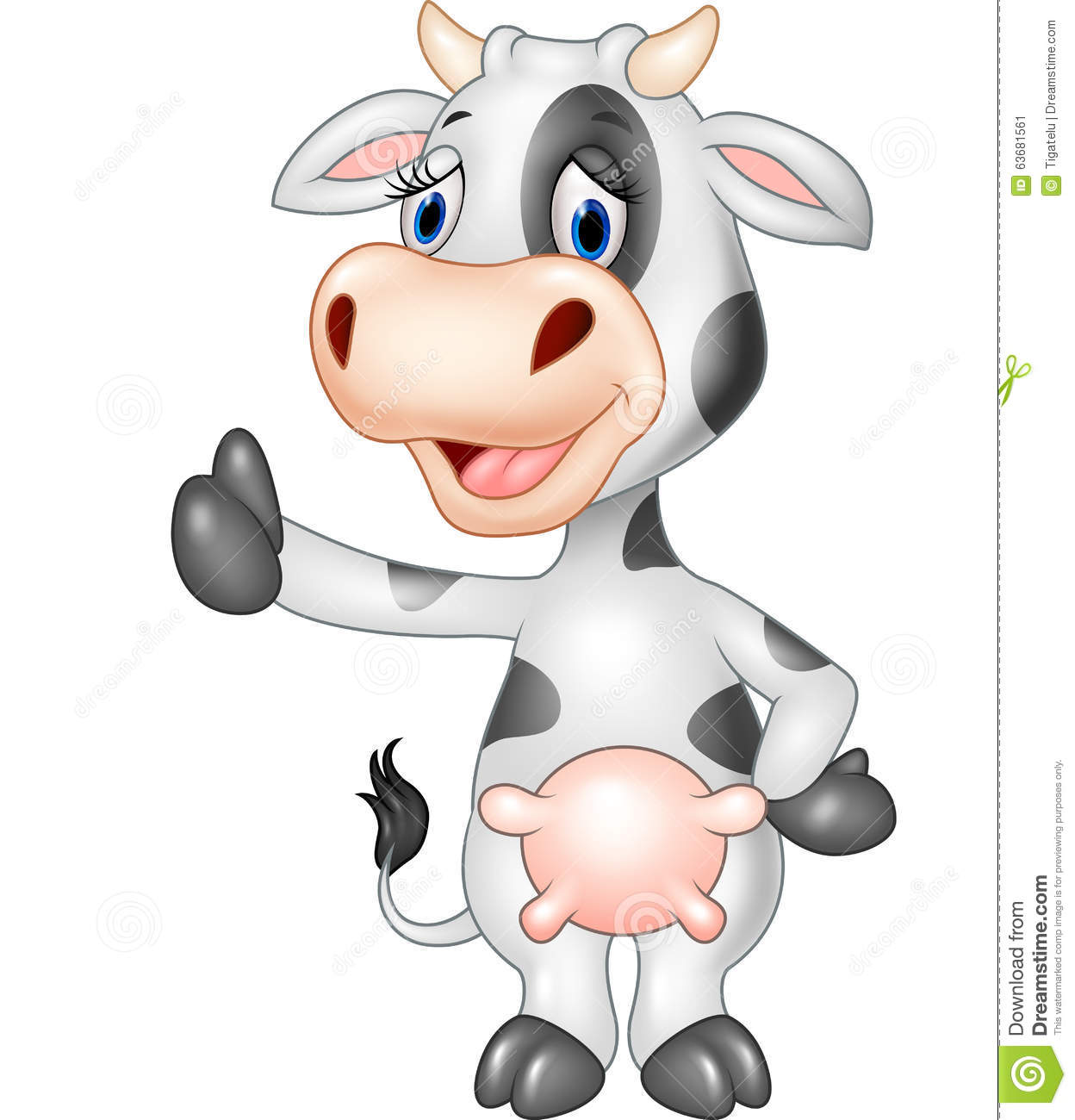 Cartoon Funny Cow Giving Thumb Up Isolated On Transparent