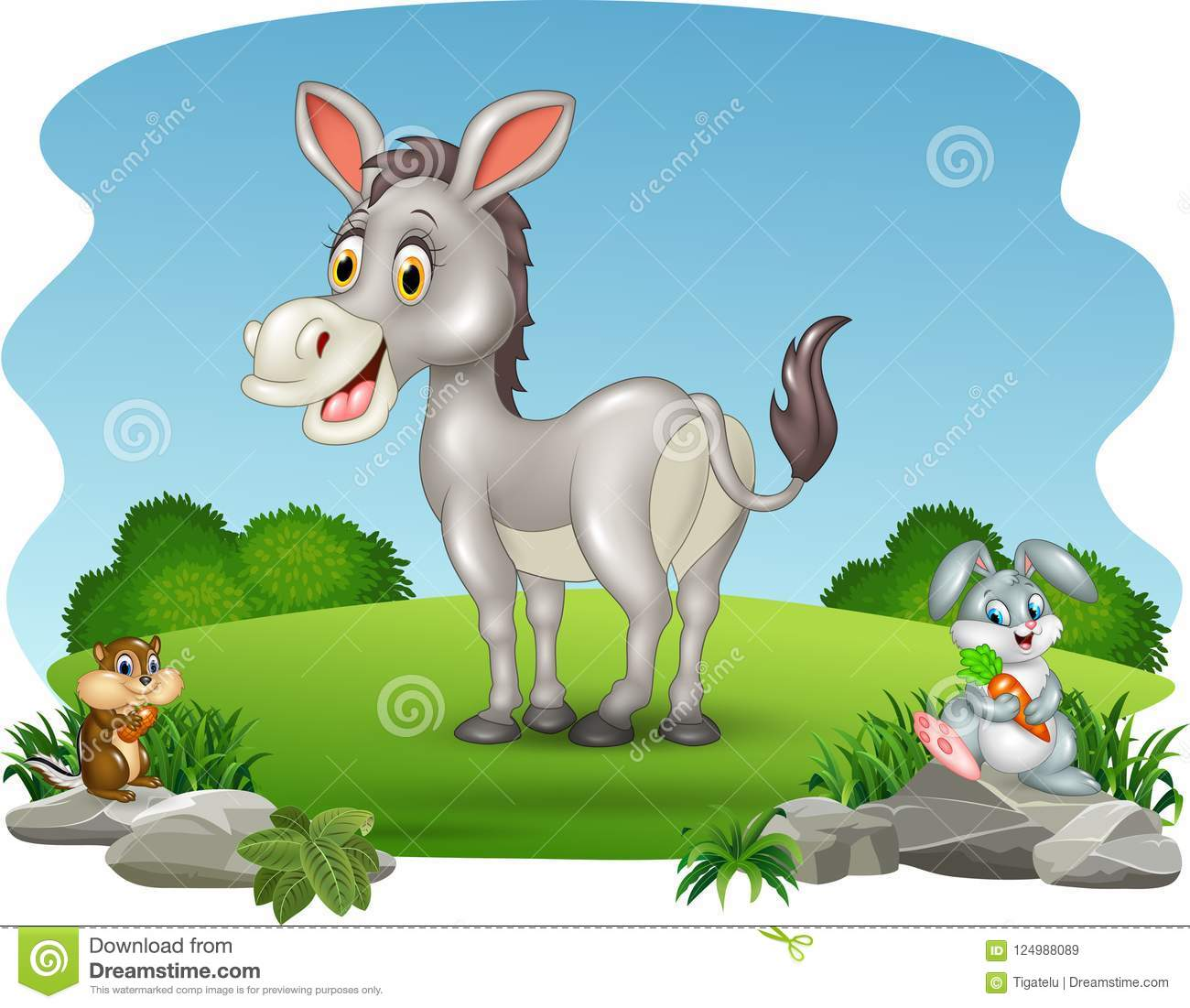 Cartoon funny donkey with nature background