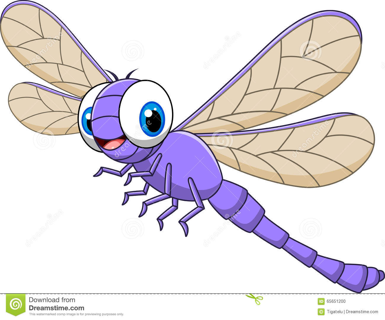 Cartoon Funny Dragonfly Isolated On White Background Stock ...