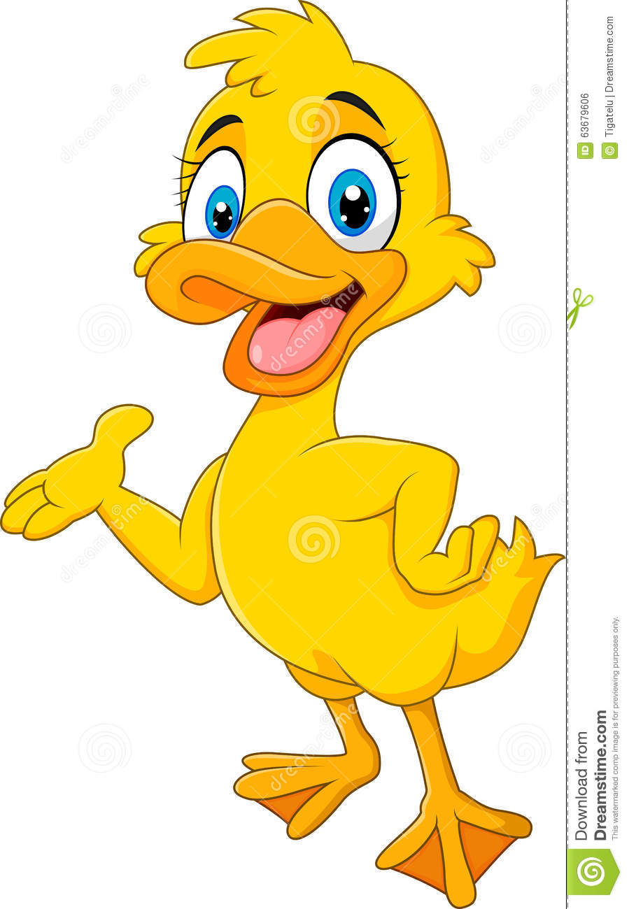 Cartoon Funny Duck Presenting Isolated On White Background ...