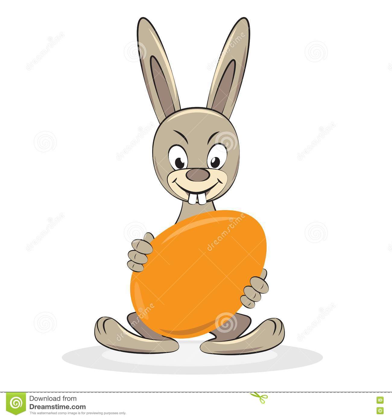 Funny Easter rabbit with egg. Vector cartoon illustration.