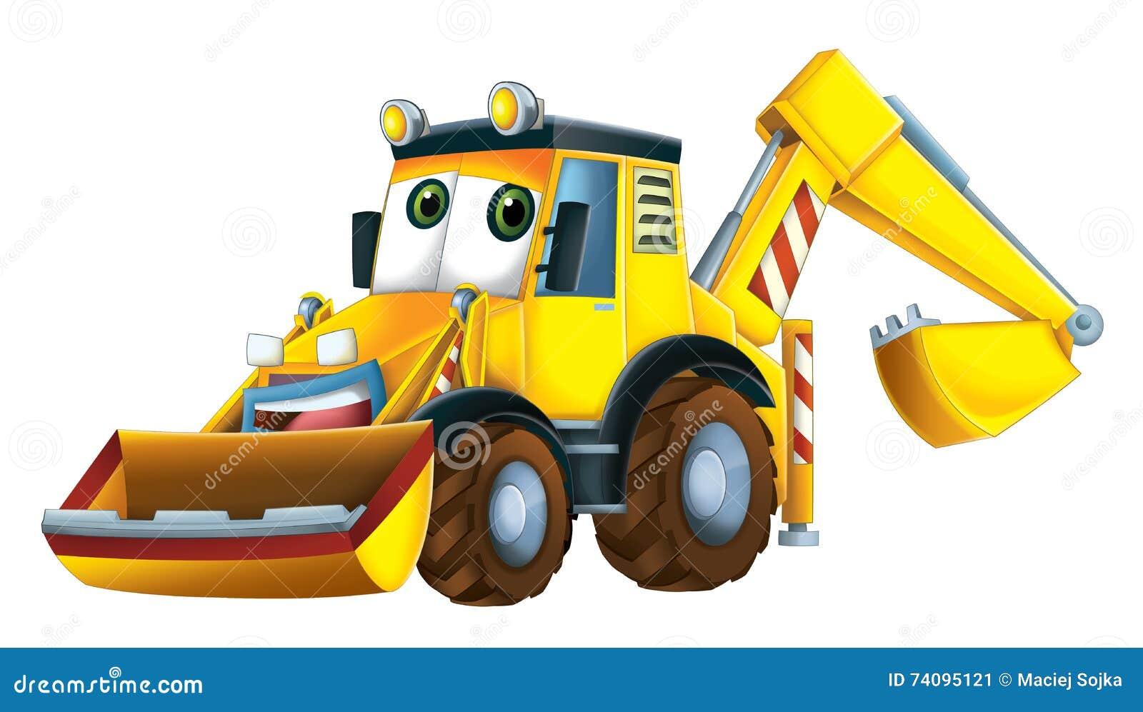 cartoon funny excavator happy colorful traditional illustration children