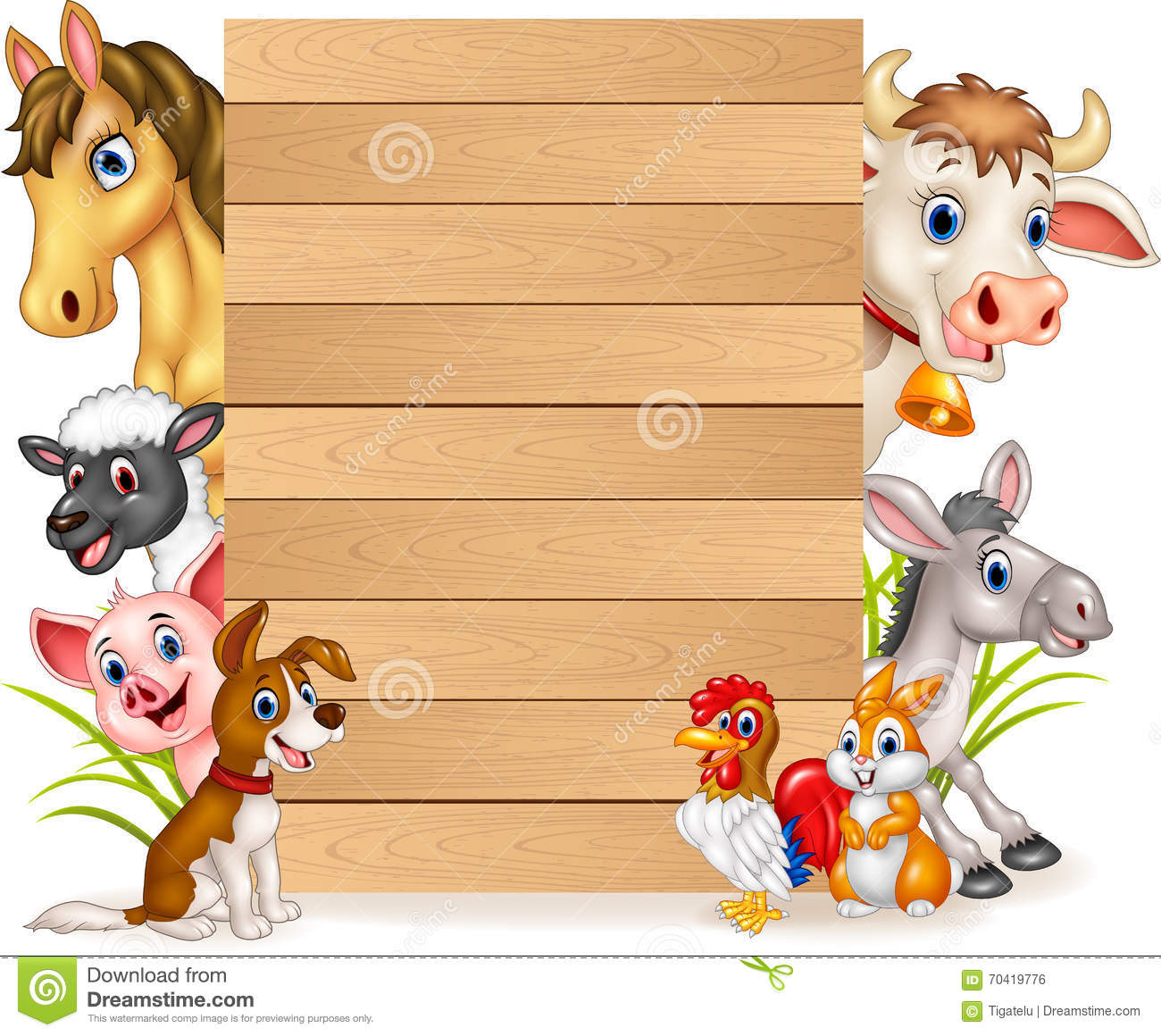 Cartoon Funny Farm Animals With Wooden Sign Stock Vector ...