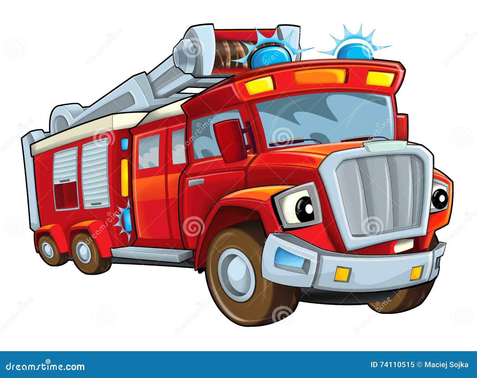 Cartoon Funny Firetruck - Isolated Stock Illustration ...