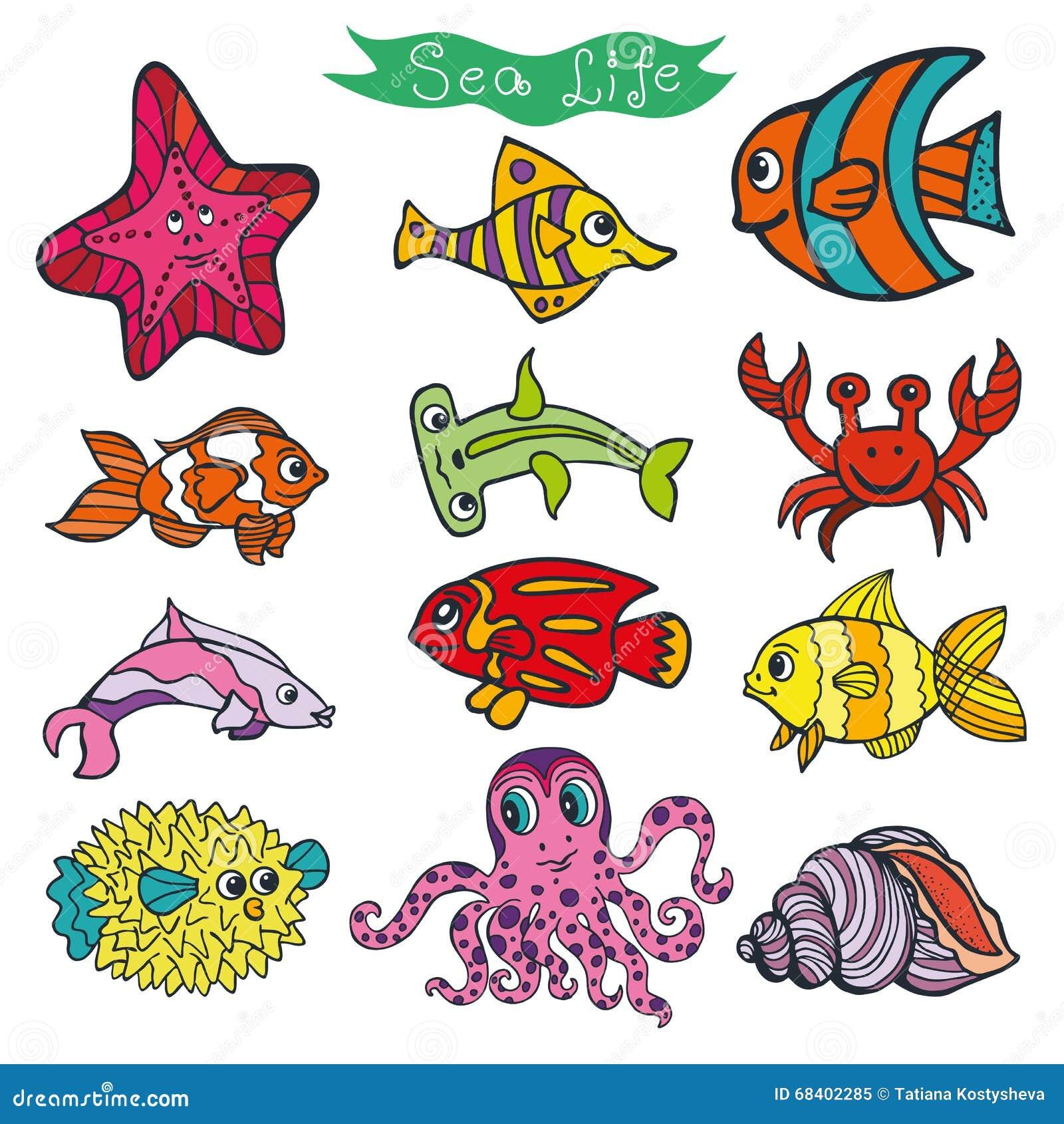 Cartoon Funny Fish Sea Life Colored Doodle Set Stock
