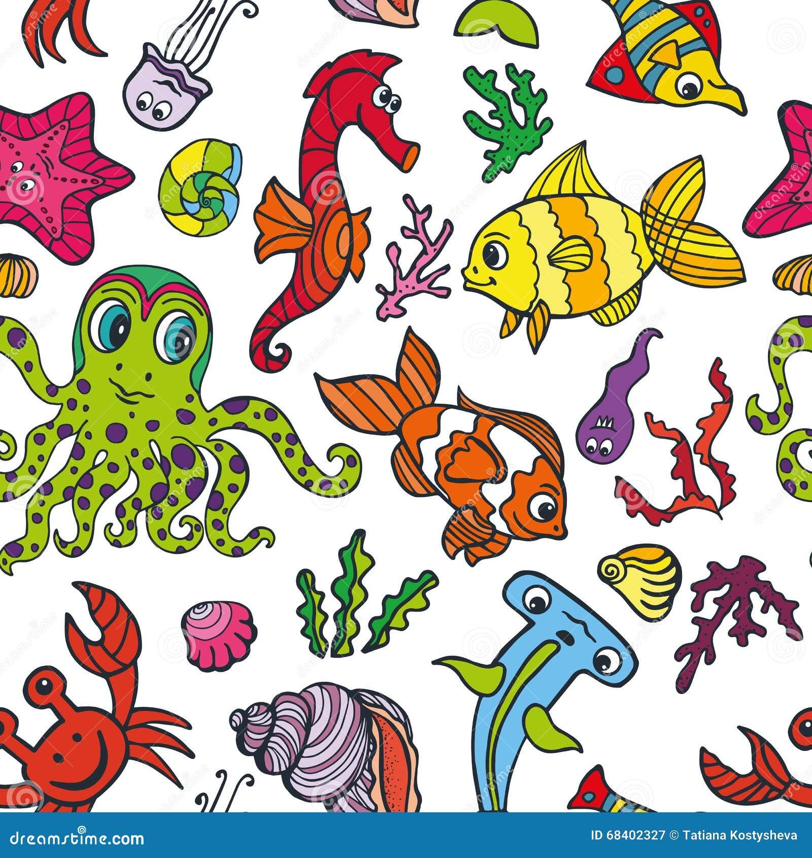 cartoon funny fish sea life seamless pattern doodle stock vector
