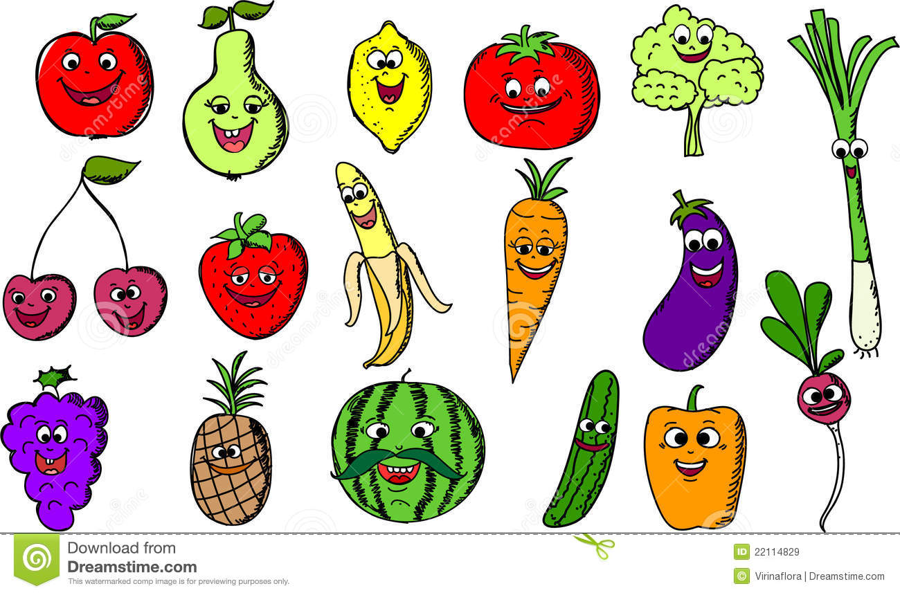 Cartoon Funny Fruits And Vegetables,vector Stock Vector ...