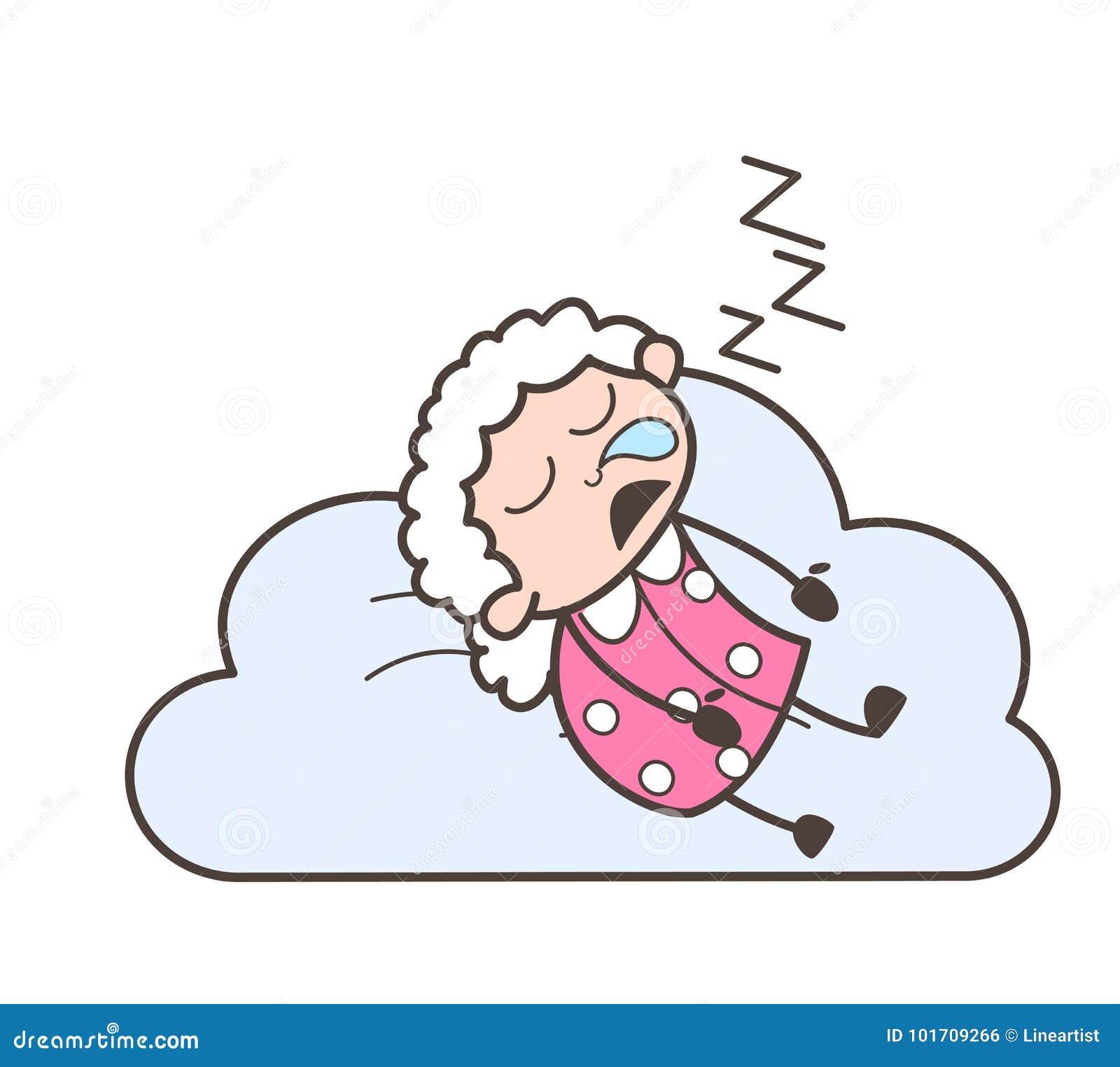 Cartoon Funny Granny Sleeping And Snoring Vector ...