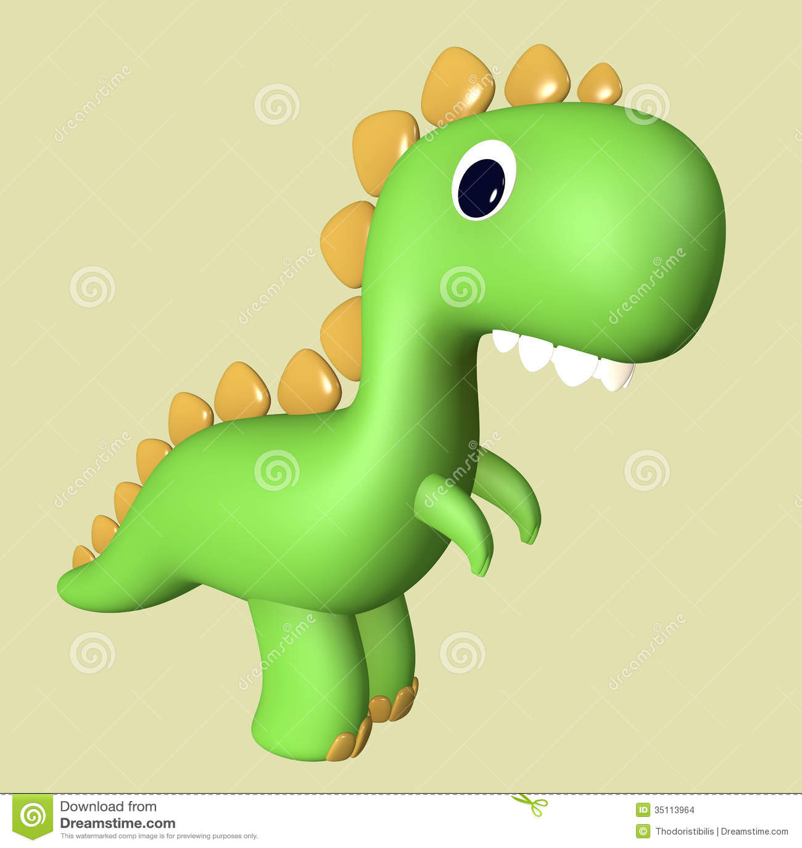 Cartoon Funny Green 3D Tyrannosaurus Rex Dinosaur Stock ...
