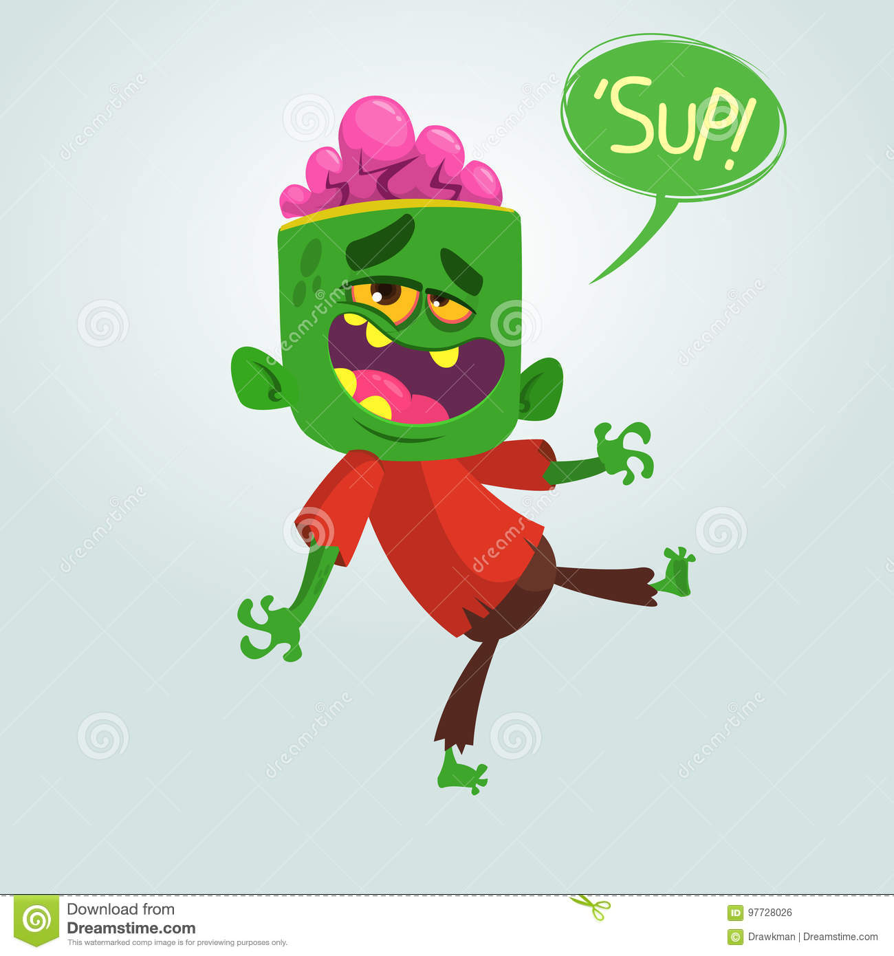 d6be2c227 Cartoon Funny Green Zombie With Big Head. Vector Illustration. Stock ...