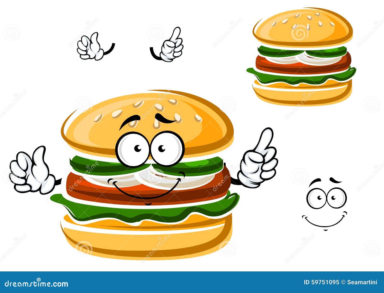 cartoon funny hamburger with vegetables stock vector