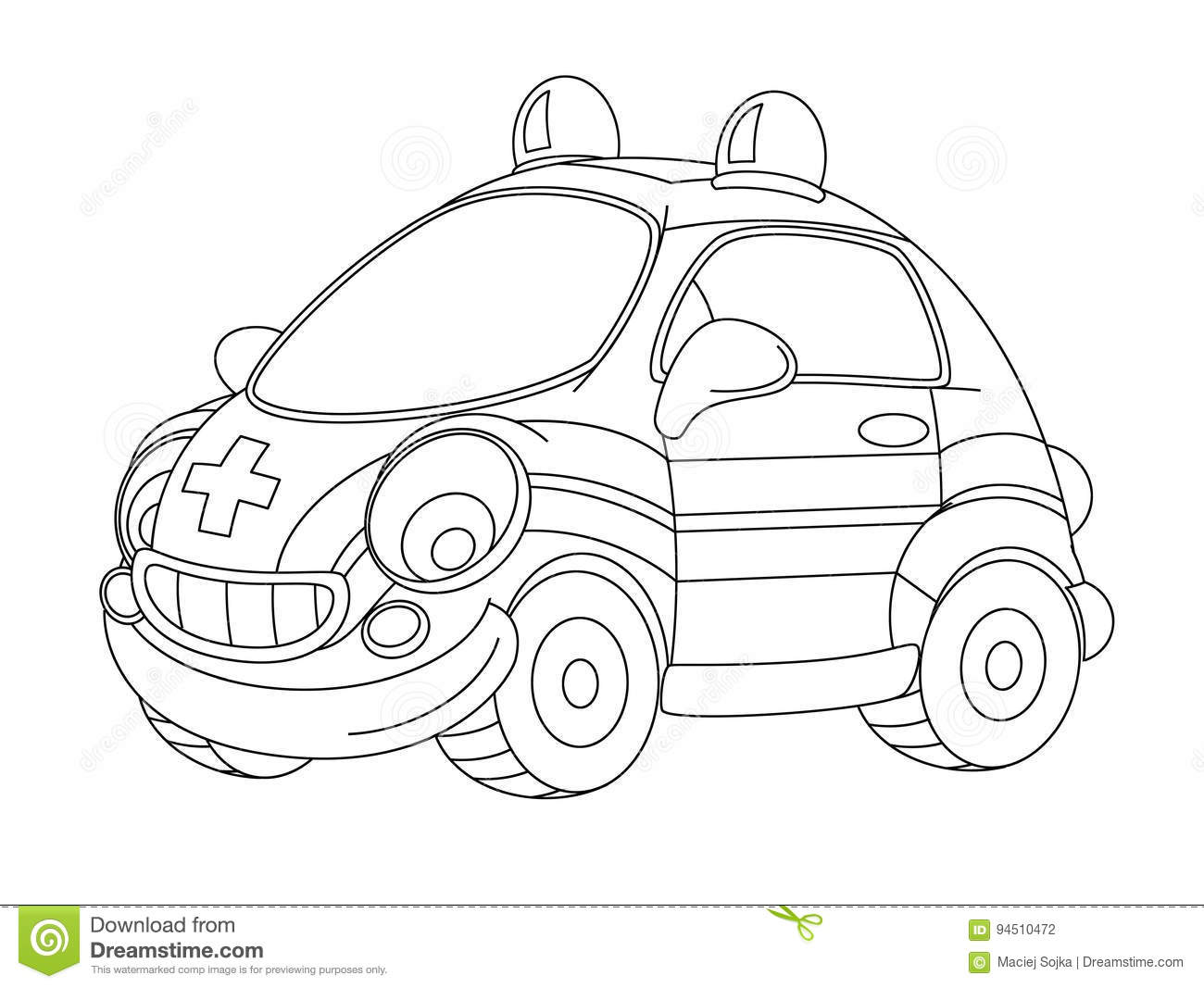 cartoon funny and happy ambulance car isolated coloring page