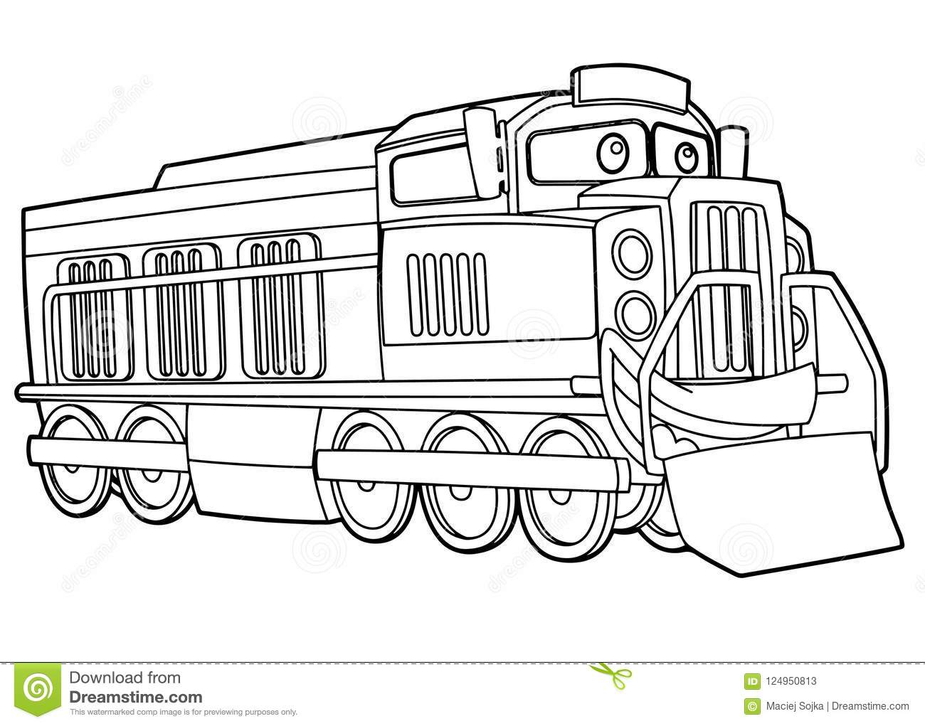 Cartoon Funny Looking Vector Train - Isolated - Coloring ...