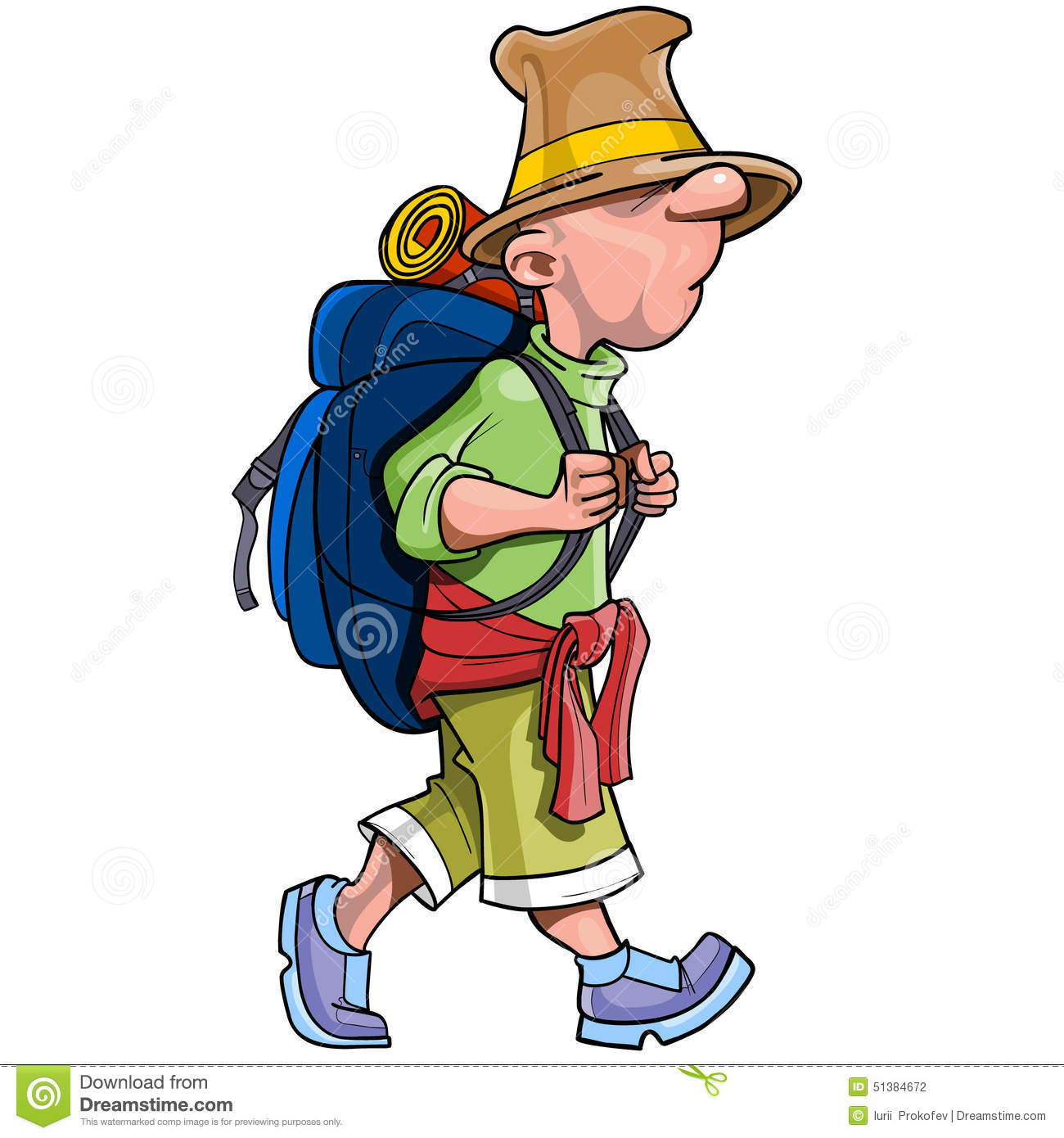 cartoon funny man tourist with a backpack going stock vector