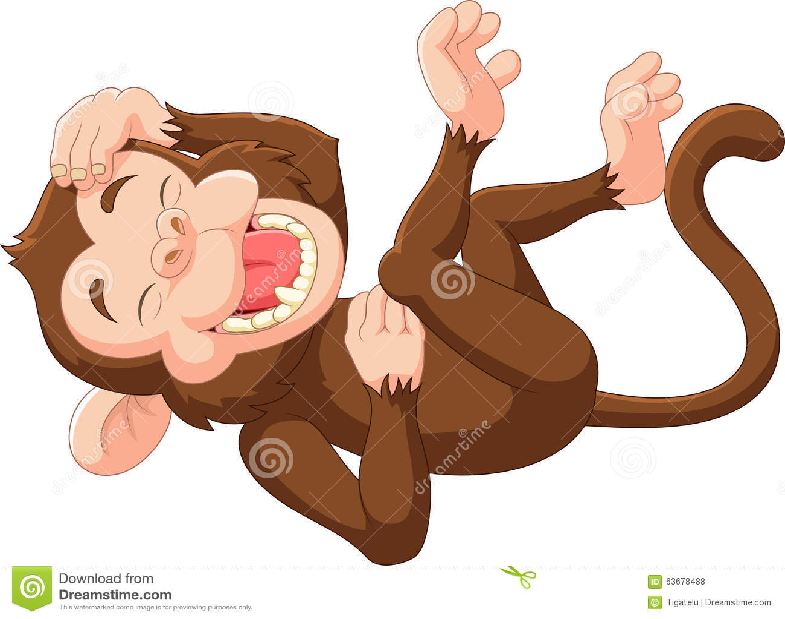 Cartoon funny monkey laughing