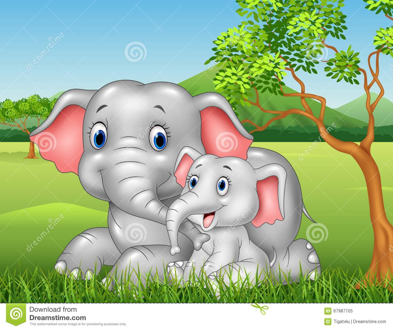 Cartoon Funny Mother And Baby Elephant On Jungle ...