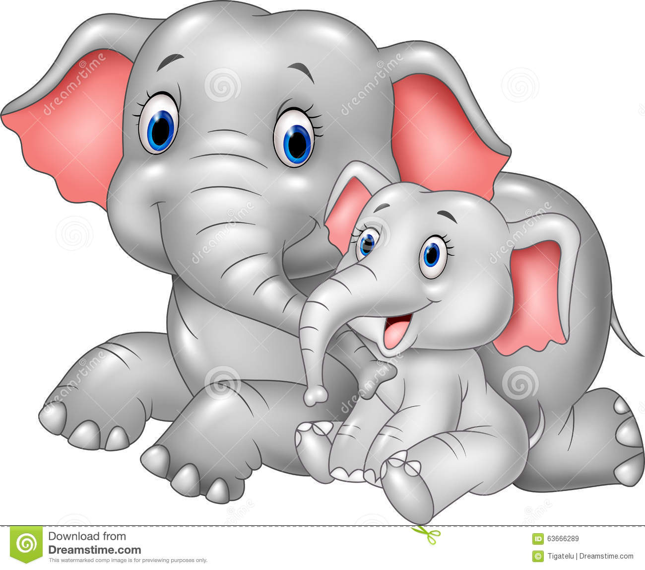Baby Elephant And Mother Clip Art - Best Elephant 2017