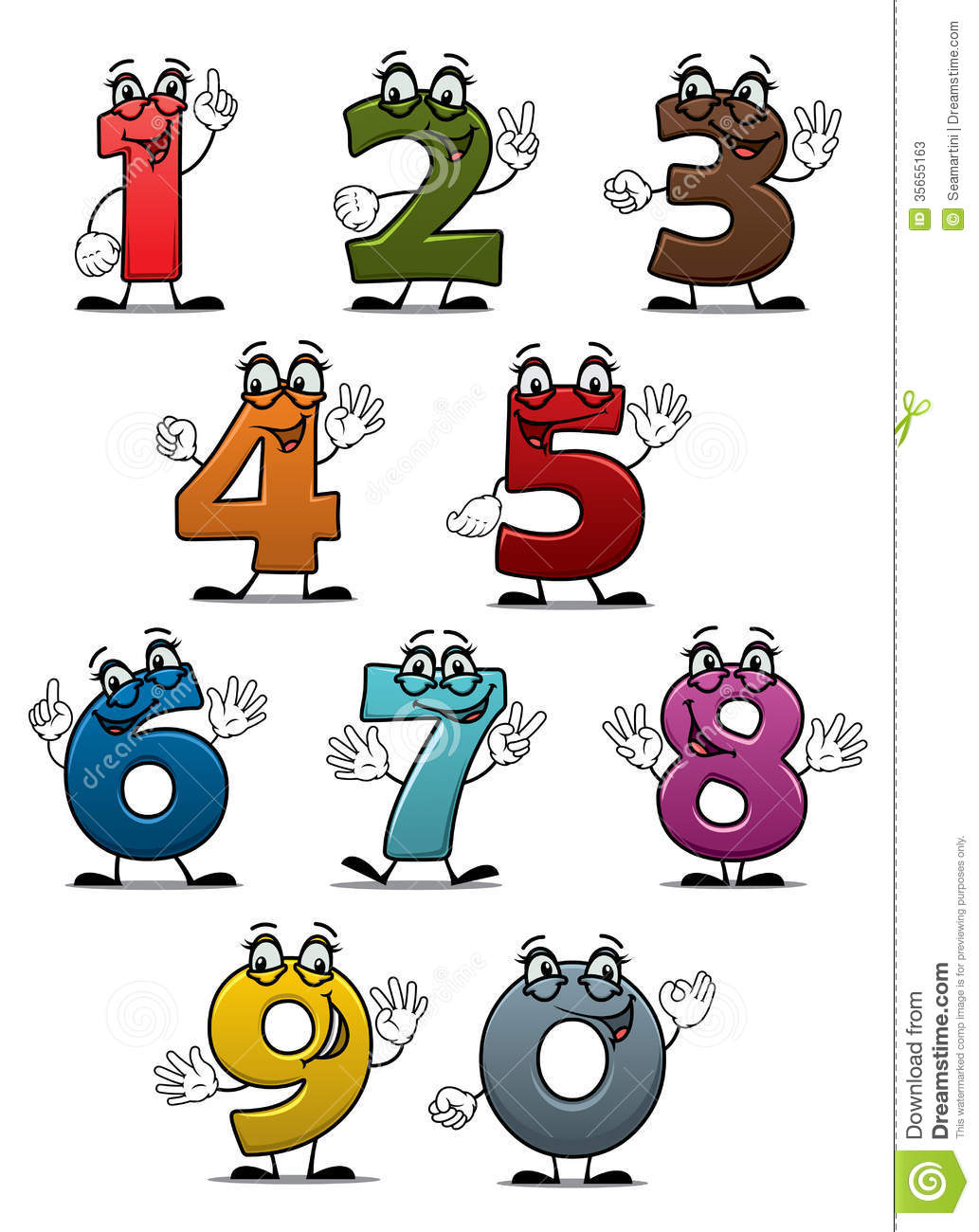 cartoon funny numbers and digits set for education or another design