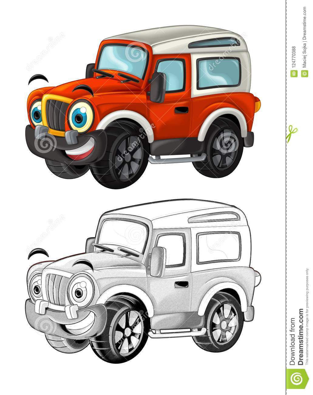 Cartoon Funny Off Road Fire Fighter Truck Looking Like ...