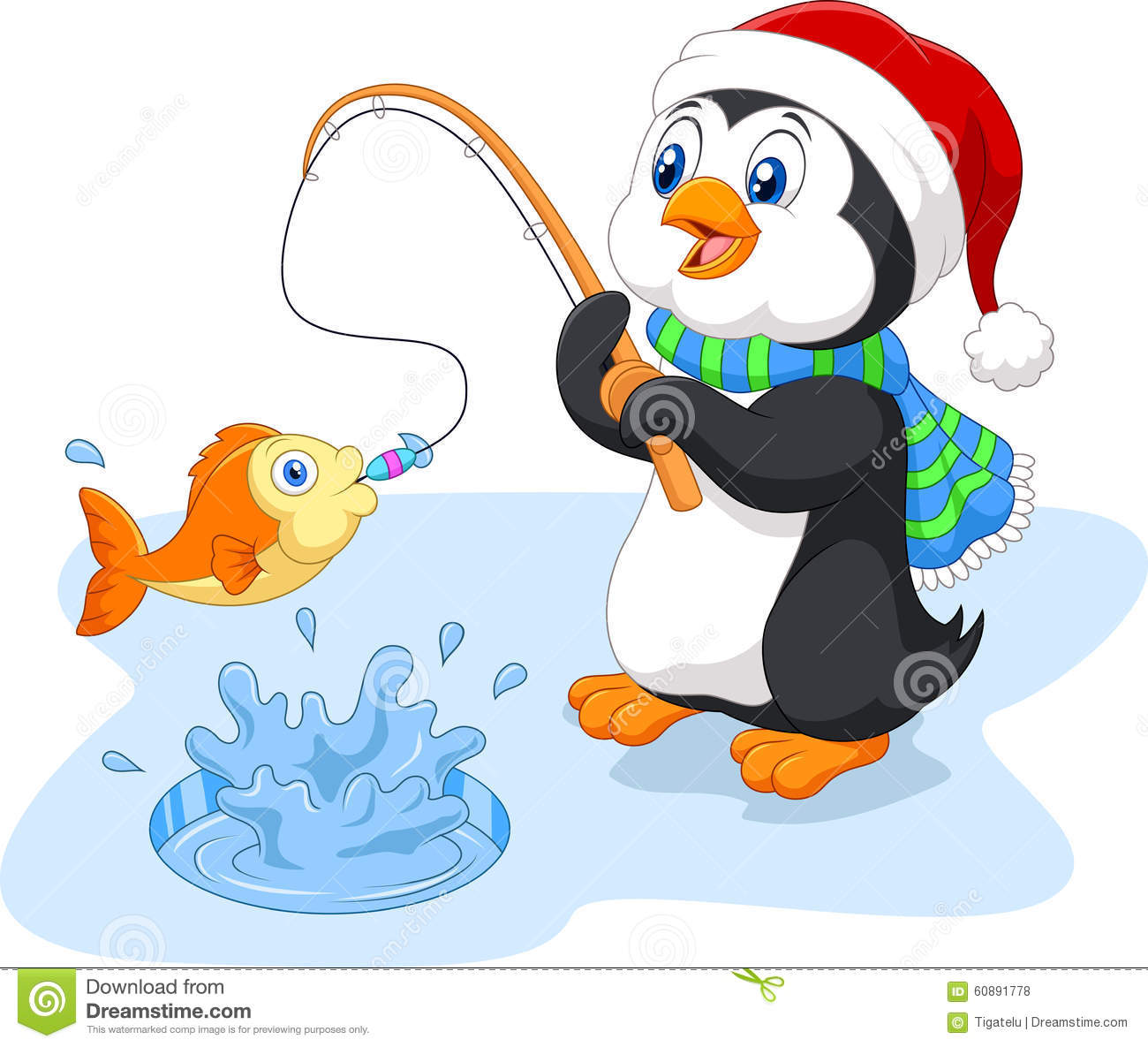 Cartoon funny penguin fishing stock vector image 60891778 for Penguin and fish