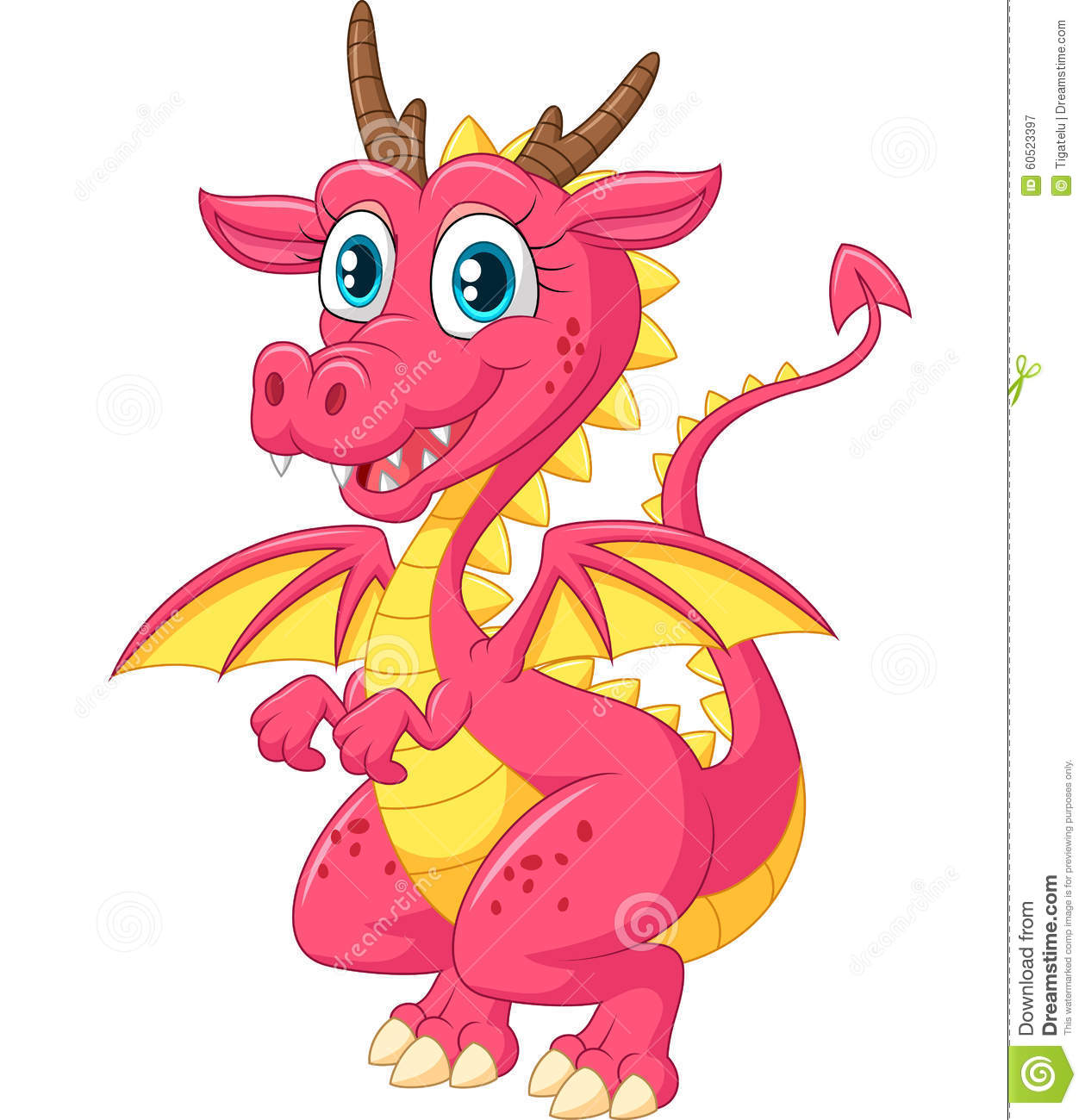 Cartoon Funny Dragon On White Background Vector ... - photo#14