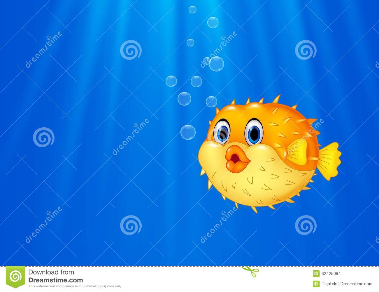 Cartoon funny puffer fish swimming in the ocean stock for Happy fish swimming