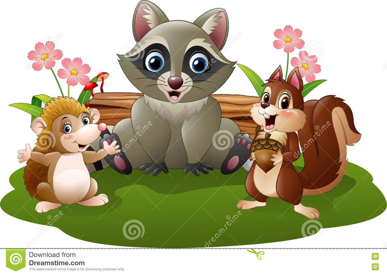 Squirrel and hedgehog royalty free stock image