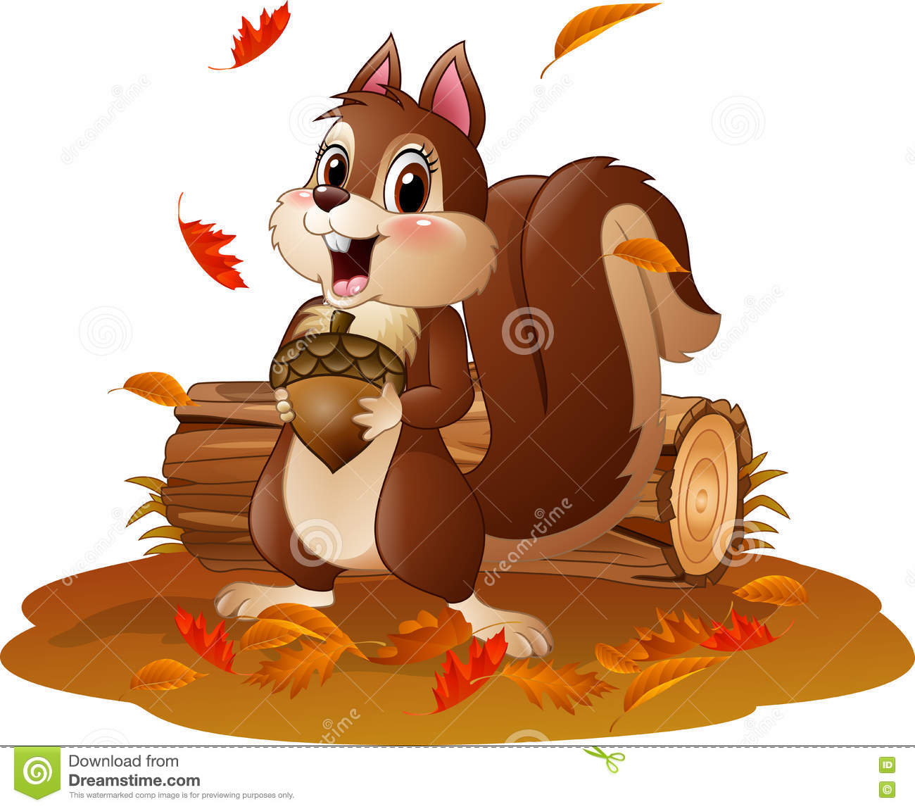 Cartoon Funny Squirrel Holding Pine Cone In The Autumn ...