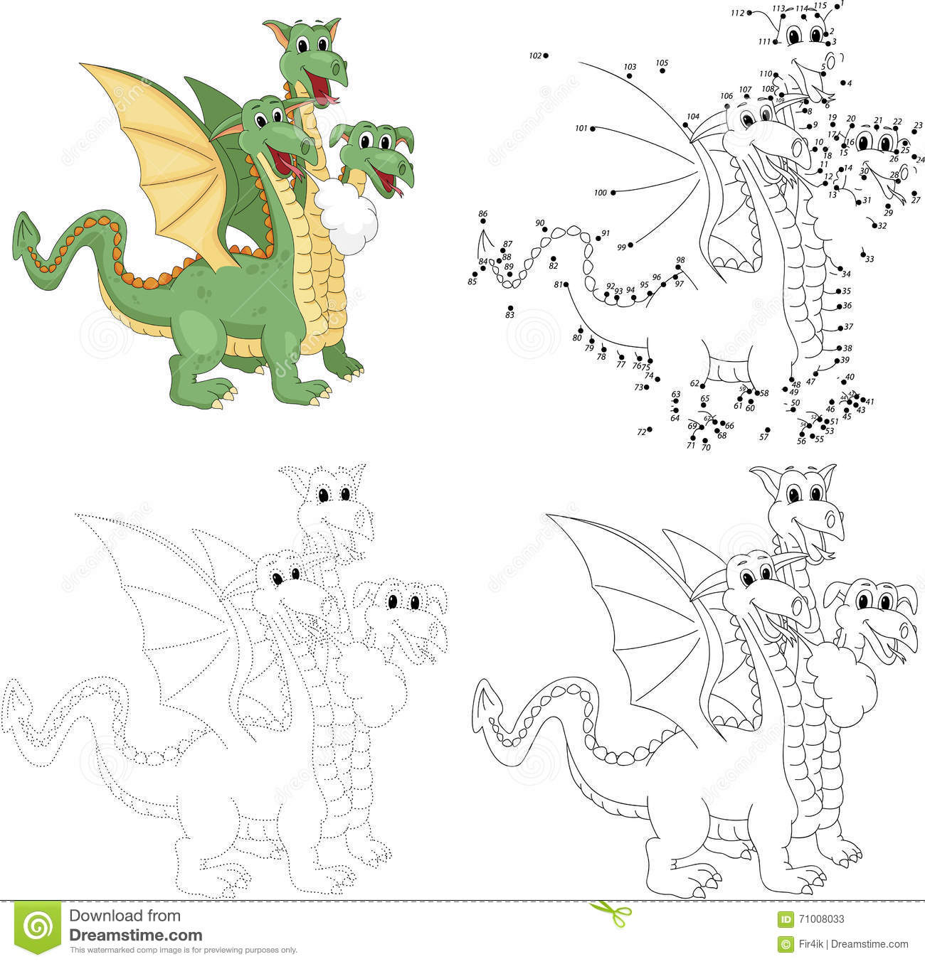 cartoon funny three headed dragon dot to dot game for kids stock