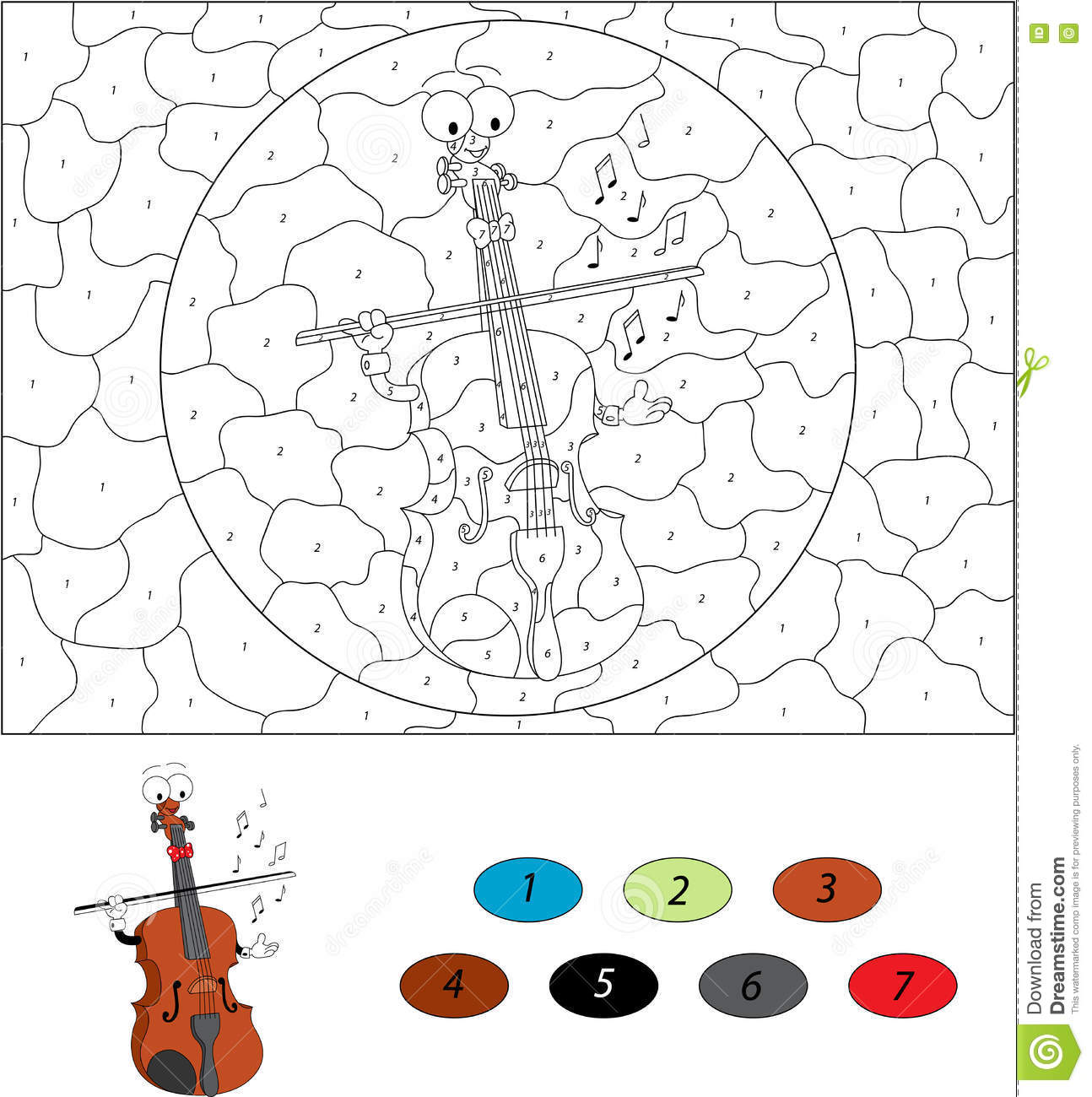 cartoon funny violin color by number educational game for kids