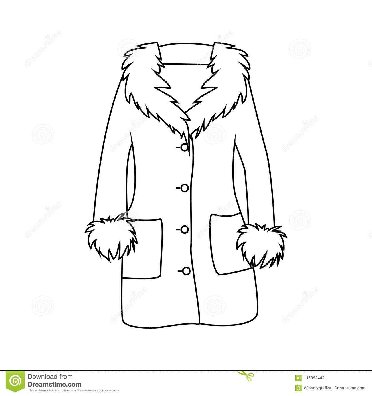 7b7a80d713f7 Cartoon Fur Winter Coat Outline Isolated On White Background Stock ...