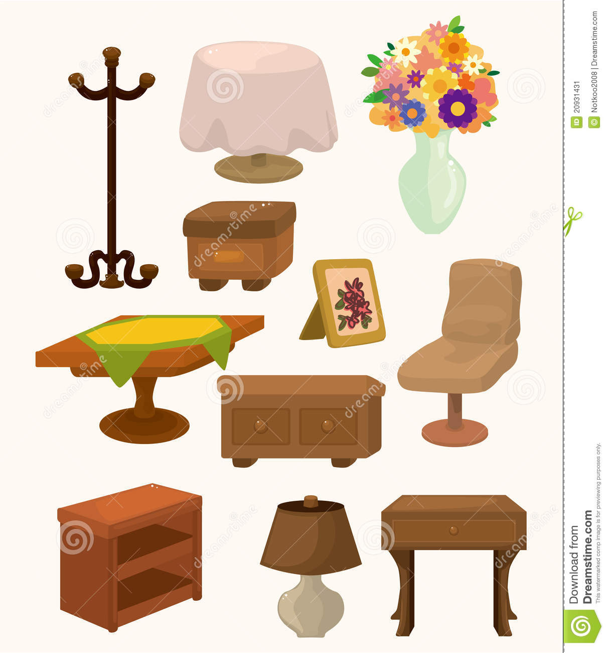Cartoon Furniture Icons Stock Image Image 20931431